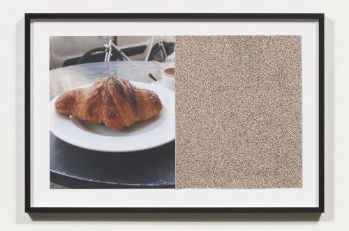 <i>Croissants & Architecture #20</i>, 2016<br> Edition 1/2<br> C-print, sandpaper sheet, framed<br> 14.4 x 21.5 inches / 36.5 x 54.6 cm