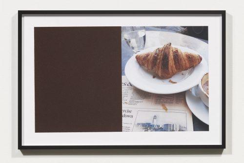 <i>Croissants & Architecture #28</i>, 2016<br> Edition 1/2<br> C-print, sandpaper sheet, framed<br> 14.4 x 21.5 inches / 36.5 x 54.6 cm