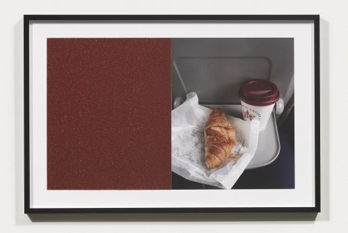 <i>Croissants & Architecture #4</i>, 2016<br> Edition 1/2<br> C-print, sandpaper sheet, framed<br> 14.4 x 21.5 inches / 36.5 x 54.6 cm