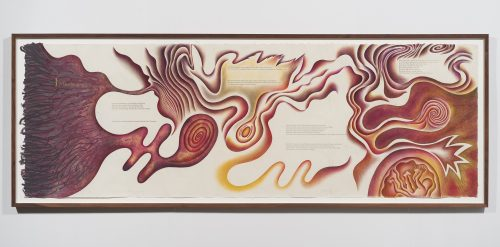 Judy Chicago<br> <i>Creation Scroll II,</i> 1981-1982<br> Lithography, gold leaf and prismacolor on handmade paper<br> 38.25 x 100.25 x 1.5 inches / 97.2 x 254.6 x 3.8 cm