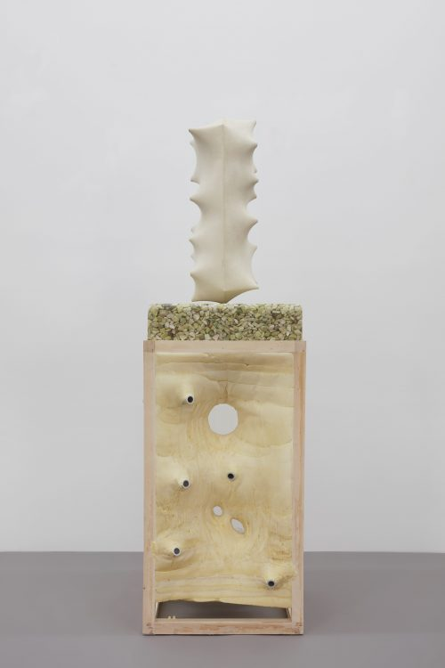 Julian Hoeber<br/><i>Shapes Made by Pulling, Stretching, Exaggerating, Condensing and Repressing</i><br/> Ultracal, acrylic, fiberglass, basswood, stainless steel, green gravel, epoxy, insulation foam, basswood<br/>Approximate dimensions 66 x 20 x 18 inches<br/> 2017