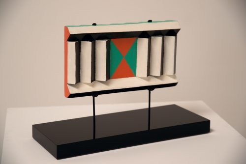 Judy Chicago<br/><i>Small Slatted Sculpture</i><br/>Acrylic on wood<br/> 4 1/2 x 8 x 11 1/2 inches <br/> 1961