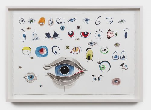 Julian Hoeber <br/><i>All the Eyes I Could Remember Just Then</i><br/> Gouache and graphite on paper <br/>19 x 25 1-2 inches<br/> 2017