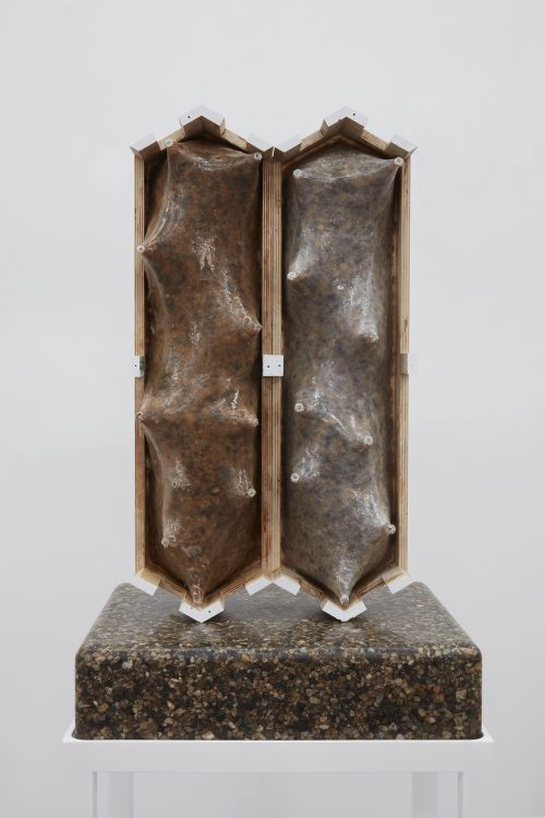 <i>A Model of the Emotional Life of a Bag of Concrete</i><br> Pea gravel, epoxy, polyester, nylon mesh, plywood, polyester resin, alder wood, insulation foam, lacquer, metal washers, acrylic, collage, glass eyes<br> Approx dims: 66 x 22 x 18 inches<br> 2017