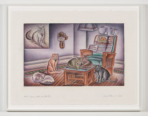 <i>5AM / Home is Where the Cats Are</i><br> Watercolor on Arches<br> 22 x 30 inches<br> 2003