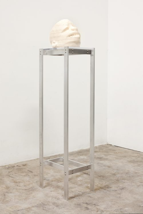 Matthew Angelo Harrison<br> <i>Mk-002-archeypeB,</i> 2017<br> Ceramic, acrylic, aluminum<br> 9 3/4 x 12 x 6 3/4 inches