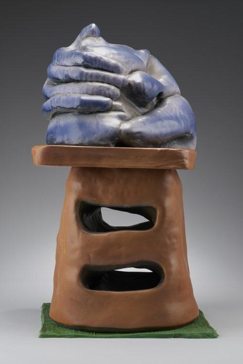 Woody De Othello<br> <i>Holding Myself Down,</i> 2017<br> Ceramic, underglaze, glaze<br> 33 x 16 x 19 inches