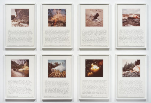 Judy Chicago<br> <i>Northwest Coast Atmospheres,</i> 1970 - 1975<br> Photography and graphite on board<br> Each panel: 18 x 12 inches / 45.7 x 30.5 cm<br> Overall: 21 x 60 inches / 53.3 x 152.5 cm