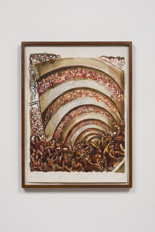 Nicole Eisenman<br> <i>Pagan Guggenheim</i>, 1994<br> Ink on paper<br> Framed: 32 1/2 x 24 1/2 x 2 inches / 82.6 x 62.2 x 5.1 cm