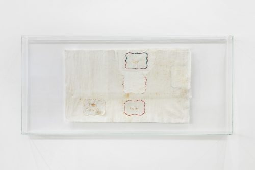 Cathy Wilkes<br> <i>Untitled</i>, 2016<br> Felt tip pen on cotton fabric, museum glass<br> 14.5 x 30.8 x 3.5 inches / 36.9 x 78.2 x 8.8 cm