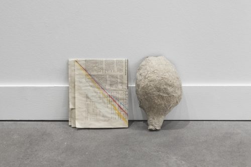 Cathy Wilkes<br> <i>Untitled</i>, 2016<br> Paper mache object, pastel on newspaper<br> 7.9 x 13.4 x 3.5 inches / 20 x 34 x 9 cm
