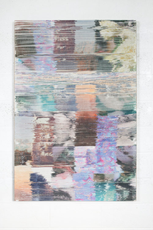 Margo Wolowiec<br> <i>Super Tuestday I,</i> 2017<br> Handwoven polymer, linen, sublimation dye<br> 55 x 37 inches / 139.7 x 94 cm