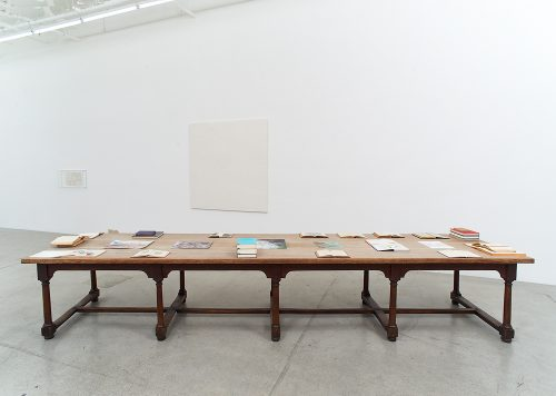 Richard Wright<br> No Title, 2017<br> Table, books and drawings<br> Dimensions variable
