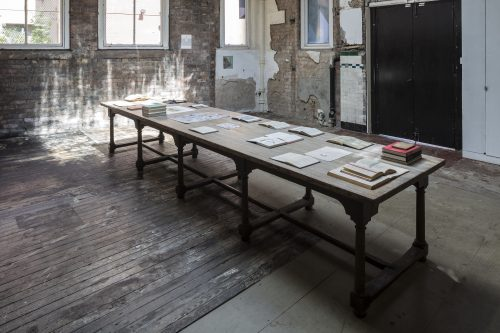 Richard Wright<br> No Title, 2017<br> Table<br> 173.2 x 40.2 x 30.3 inches / 440 x 102 x 77 cm