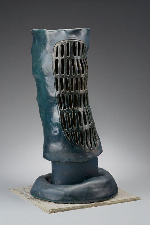 <i>Vent</i><br> Ceramic, underglaze, glaze<br> 30 x 16 1/2 x 13 1/2 inches<br> 2017