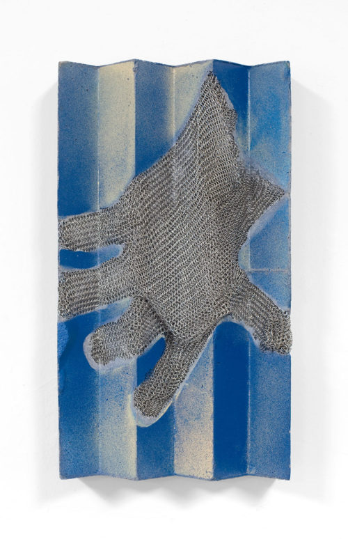 <i>SHE HELD HER ARM OUT THE WINDOW UNTIL HER HAND WAS WET</i><br> Stainless steel mesh and acrylic paint transfer on reinforced, pigmented concrete<br> 11 1/2 x 6 1/4 x 2 1/8 inches<br> 2017