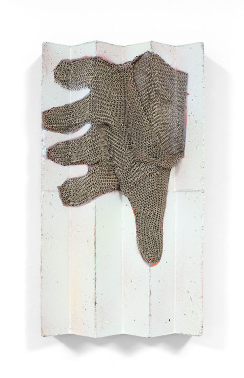 <i>SHE STOPPED TO WAIT FOR ME, AND WHEN I REACHED HER SHE GAVE ME HER HAND</i><br> Stainless steel mesh and acrylic paint transfer on reinforced, pigmented concrete<br> 11 1/2 x 6 1/4 x 2 1/8 inches<br> 2017