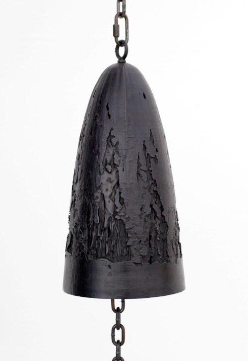 <i>SUDDENLY THERE WAS A NOISE OF THINGS BREAKING</i><br> Cast bronze bell and lemon clapper, steel chain, hardware<br> Bell: 14 1/2 x 3 1/2 x 3 1/2 inches<br> Hanging length variable<br> 2017