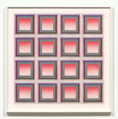 Judy Chicago<br> <i>Childhood's End #1,</i> 1972<br> Prismacolor on paper<br> 23 x 23 inches