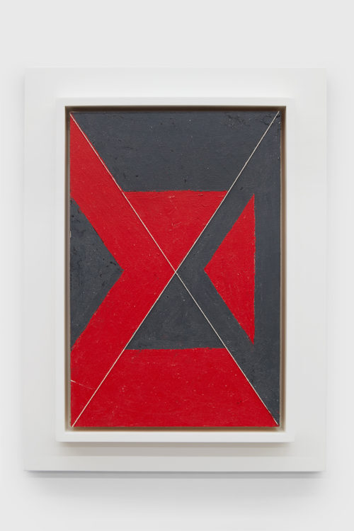 Julian Hoeber<br> <i>Execution Changes #35 (XS, Q1, LMJ, LC, Q2, CJ, LC, Q3, UMJ, DC, Q4, LMJ, DC),</i> 2011<br> Acrylic and string on panel<br> 18 x 12 inches