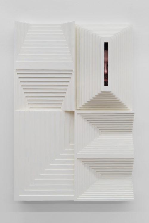 Julian Hoeber<br> <i>Hole,</i> 2017<br> Latex enamel on laminated plywood with epoxy, bondo, polyester resin and acrylic paint<br> 36 x 24 x 7 inches