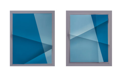 <i>Accumulator #12, 3 Colors #8E8C97, #5E8CA2, #0F648D,</i> 2017<br> Creased archival pigment print<br> Diptych, each: 32 11/16 x 26 11/16 x 1 3/4 inches<br> Overall: 32 11/16 x 53 3/8 x 1 3/4 inches<br> Unique