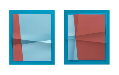 <i>Accumulator #14, 3 Colors #1E9AC0, #8DC2D5, #AC5754,</i>  2017<br> Creased archival pigment print<br> Diptych, each: 32 11/16 x 26 11/16 x 1 3/4 inches<br> Overall: 32 11/16 x 53 3/8 x 1 3/4 inches<br> Unique