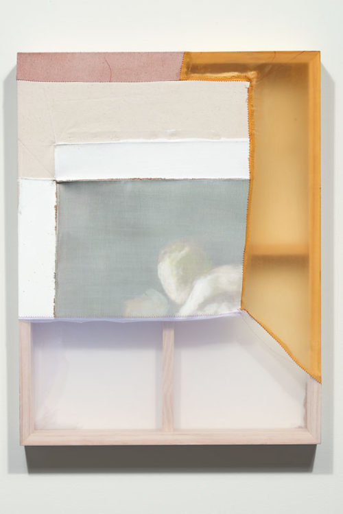 Erica Mahinay<br> <i>Hushed Exchange</i>, 2015<br> Oil on canvas, treated fabrics<br> 26 x 20 inches