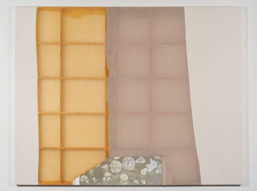 Erica Mahinay<br> <i>Still Life Half Light</i>, 2015<br> Oil on canvas, treated fabrics<br> 112 x 144 inches
