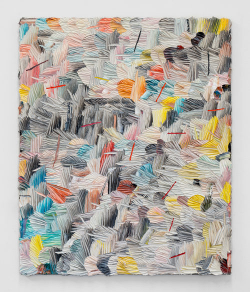 Dashiell Manley<br> <i>e.f.w. (t.l.o.),</i> 2017<br> Oil on linen<br> 39 x 32 inches