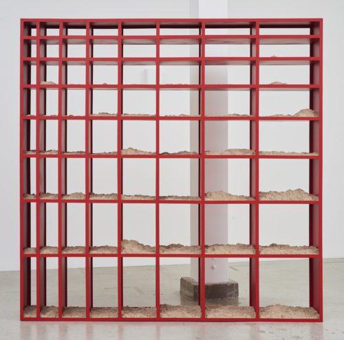 Nicole Wermers<br> <i>Sand Shelf #1,</i> 2016-2017<br> Powdercoated steel, kinetic sand<br> 91 7/16 x 91 7/16 x 16 inches