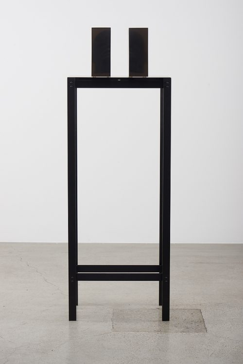 <i>Dark Silhouette: Obscured Fragments</i><br> Wooden sculpture from West Africa, polyurethane resin, anodized aluminum, acrylic<br> Each sculpture: 9 2/5 x 11.61 x 3.74 inches / 24 x 29.5 x 9.5 cm<br> Overall: 57 2/5 x 20 x 13 inches / 145.8 x 50.8 x 33.02 cm<br> 2018