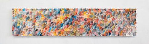 Dashiell Manley<br> <i>e.f.w. (t.b.p.),</i> 2017<br> Oil on linen<br> 24 x 110 inches / 61 x 279.4 cm