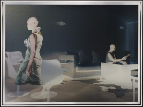 Isaac Julien<br> <i>Cyborg 3# Radioactive/ Radioactive series,</i> 2018<br> Gold or silver foil mounted on aludibond, layer of KODAK Duraclear and collage of solvent inkjet print on gold or silver foil<br> Frame size: 34 x 44 x 1 1/2 inches / 86.5 x 112.5 x 3.8 cm<br> Image size: 33 1/8 x 43 1/4 inches / 84 x 110 cm
