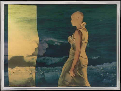 Isaac Julien<br> <i>Cyborg 2# Twilight/Mirror / Radioactive series,</i> 2018<br> Gold or silver foil mounted on aludibond, layer of KODAK Duraclear and collage of solvent inkjet print on gold or silver foil<br> Frame size: 34 x 44 x 1 1/2 inches / 86.5 x 112.5 x 3.8 cm<br> Image size: 33 1/8 x 43 1/4 inches / 84 x 110 cm
