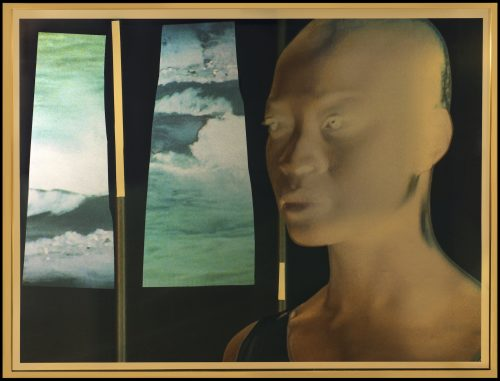 Isaac Julien<br> <i>Cyborg 1# Octavia/Gold / Radioactive series,</i> 2018<br> Gold foil mounted on aludibond, layer of KODAK Duraclear and collage of solvent inkjet print on silver foil<br> Frame size: 34 x 44 x 1 1/2 inches / 86.5 x 112.5 x 3.8 cm<br> Image size: 33 1/8 x 43 1/4 inches / 84 x 110 cm