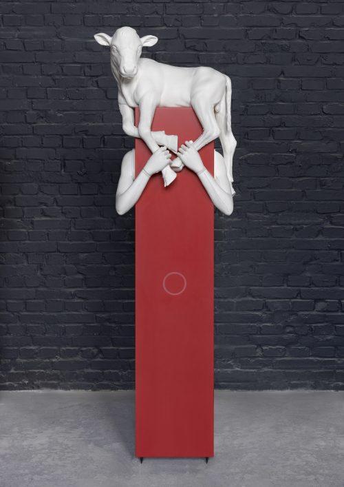 Aleksandra Domanović<br> <i>Kalbträgerin,</i> 2017<br> Cast Jesmonite, Kerrock, foam and Plexiglas<br> 82 5/8 x 27 1/8 x 16 7/8 inches / 210 x 69 x 43 cm