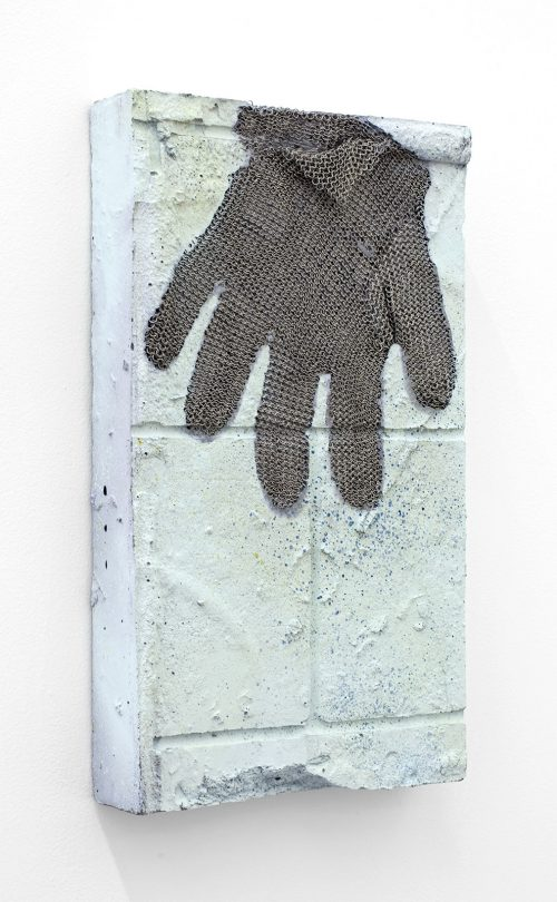 <i>THEY ASKED WHERE I WAS FROM AND I REPLIED WITH A LINE I SOMETIMES USED</i><br> Stainless steel mesh and acrylic paint on reinforced, pigmented concrete<br> 14 x 8 x 2 inches / 35.6 x 20.3 x 5.1 cm<br> 2017