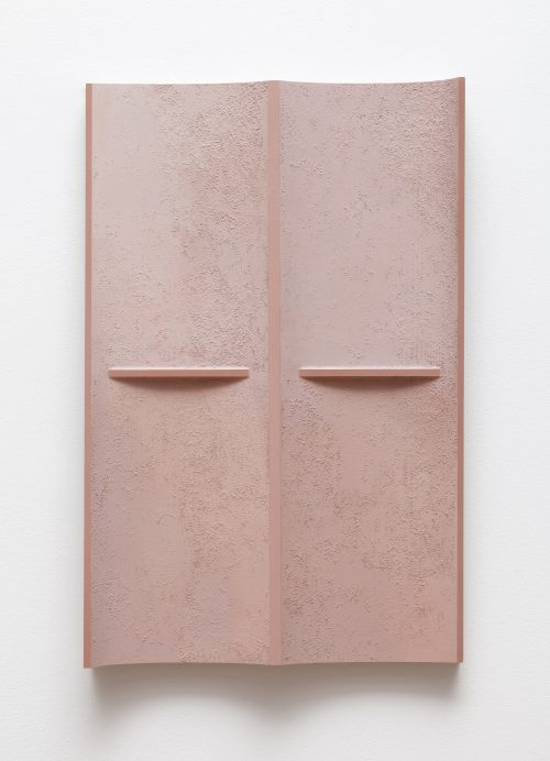 B. Ingrid Olson<br> <i>Pulled Curtain, Turning Torso,</i> 2018<br> PVA size, acrylic paint, latex paint, vinyl paint, sand, polyurethane foam<br> 20 x 13 x 2 1/4 inches / 50.8 x 33 x 5.7 cm