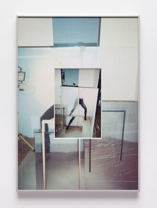 B. Ingrid Olson<br> <i>Straddle Switch, Rehearsal, Quilt,</i> 2018<br> Inkjet print and UV printed matboard in aluminum frame<br> 30 x 21 inches / 76.2 x 53.3 cm