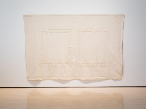 Robert Overby<br><i>Two Window Wall Map,</i> 20 August 1972<br>Canvas<br>105 x 160 inches / 266.7 x 406.4 cm