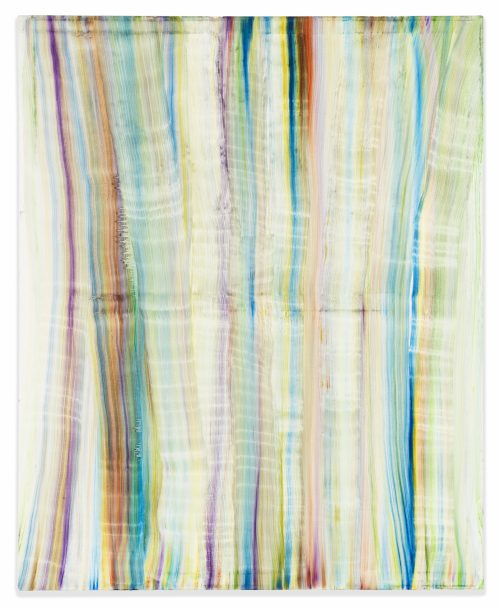 Autumn Ramsey<br> <i>Green Stripes,</i> 2012<br> Oil on canvas<br> 30 x 24 inches / 76.2 x 61 cm