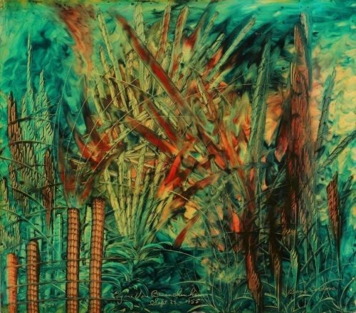 Eugene Von Bruenchenhein<br> <i>Sans Cordova,</i> September 22, 1955<br> Oil on board<br> Painting: 15 x 16 inches / 38.1 x 40.6 cm<br> Frame: 21 x 19 inches / 53.3 x 48.3 cm