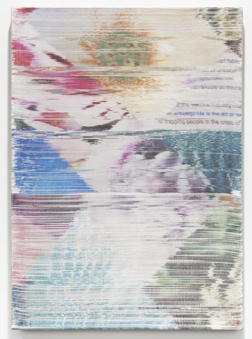 <i>Crisis</i><br> Handwoven polymer, linen, dye sublimation ink<br> 39 x 28 inches / 99.1 x 71.1 cm<br> 2018
