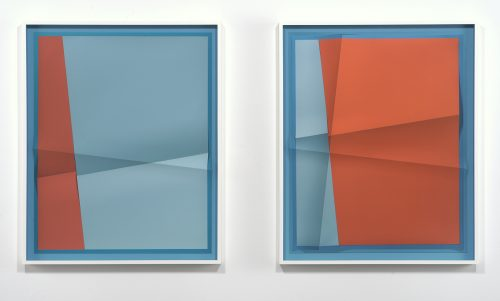 <i>Accumulator #14, 3 Colors #1E9AC0, #8DC2D5, #AC5754</i><br> Creased archival pigment print (unique)<br> Diptych, framed, each: 32 3/4 x 26 3/4 inches / 83.2 x 67.9 cm<br> 2017
