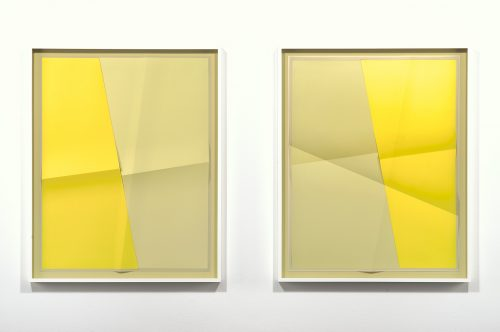 <i>Accumulator #15, 3 Colors #CEC5A3, #E9DD97, #FCE741</i><br> Creased archival pigment print (unique)<br> Diptych, framed, each: 32 3/4 x 26 3/4 inches / 83.2 x 67.9 cm<br> 2017