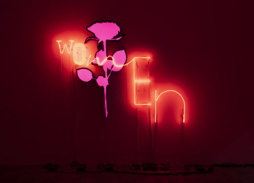 Andrea Bowers<br> <em>Womxn - Women</em>, 2018<br> Lightbox and neon<br> 60 1/2 x 79 inches / 153.7 x 200.7 cm<br> Edition 1/3