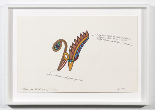 Judy Chicago<br> <em>Hildegarde - Illuminated Capital Letter Study</em>, 1977<br> Signature on recto<br> Mixed media on graph paper<br> Drawing size: 11 1/4 x 15 1/2 inches / 28.6 x 39.4 cm<br> Frame size: 13 1/4 x 17 1/2 inches / 33.655 x 44.45 cm