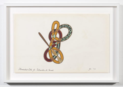 Judy Chicago<br> <em>Illuminated Letter for Petronilla de Meath</em>, 1977<br> Signature on recto<br> Ink, gouache, and Prismacolor on rag paper<br> Drawing size: 7 1/4 x 11 1/2 inches / 18.5 x 29.2 cm<br> Frame size: 9 1/4 x 13 1/2 inches / 23.5 x 34.29 cm