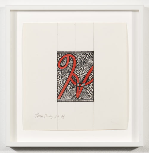 "Judy Chicago<br> <em>Letter study for ""H""</em>, 1977-79<br> Mixed media on graph paper<br> Drawing size: 7 1/4 x 7 1/2 inches / 18.4 x 19.1 cm<br> Frame size: 9 1/4 x 9 1/2 inches / 23.5 x 24.13 cm<br>"